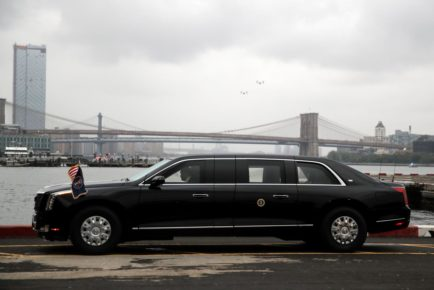"""FILE PHOTO: U.S. President Donald Trump's new Cadillac limousine nicknamed """"The Beast"""" awaits its debut drive in New York City"""