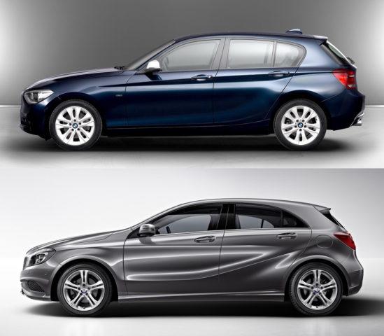 BMW serije 1 in Mercedes-Benz razred A, letnik 2012: na las podobna silhueta, drugačen izrez oken zadnjih bočnih vrat, drugačna previsa zaradi pogona.