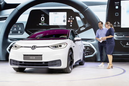 Dr. Silke Bagschik, Head of Sales & Marketing, Product Line e-Mobility, Volkswagen Brand at the new Volkswagen ID.3.