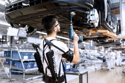 Being tested: Audi production tests exoskeletons for overhead ta